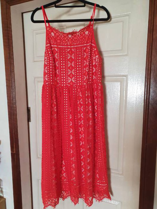 Red Lace Overlay Dress