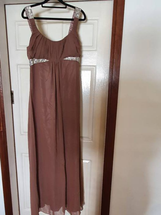 Chiffon Dress with Sequin Straps