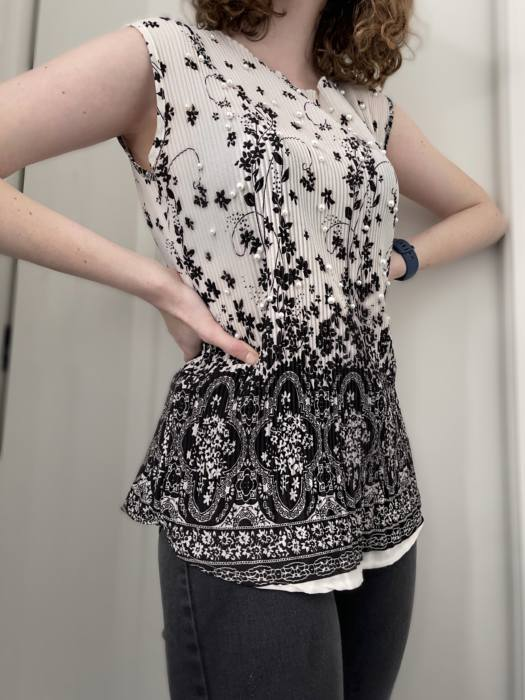 Black white and pearls top